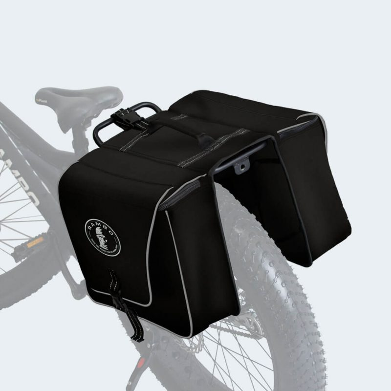 On bike view of Stealth Black Accessory Bag by Rambo Bikes