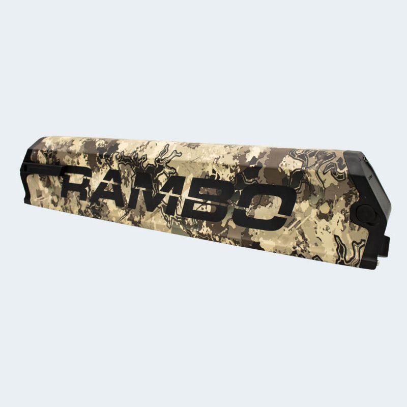 Corner view of R137C Camo E-Bike 14.4AH Panasonic Battery
